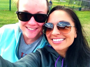 Elisa and I worked out, drank coffee and watched some field hockey!!