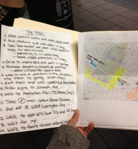 My brother's detailed instructions and my parents waiting patiently for the train. So Cute!